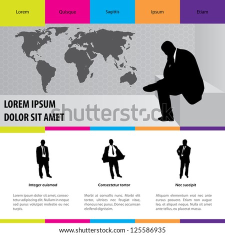 Business suit selling website with color design - stock vector