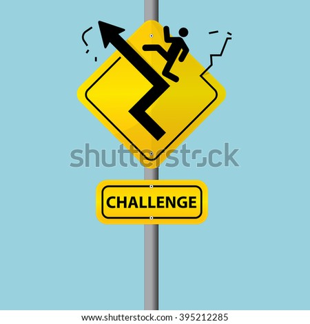 Business symbol on road sign. The concept of challenge. Vector. Illustration