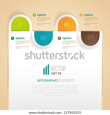 Business tab for options. Can be used for presentations, web design, infographics, number options. - stock vector