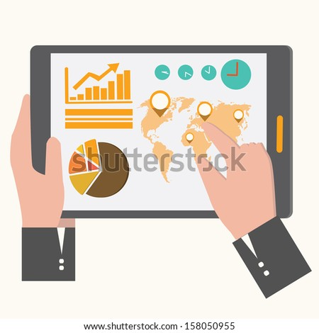 business tablet - stock vector