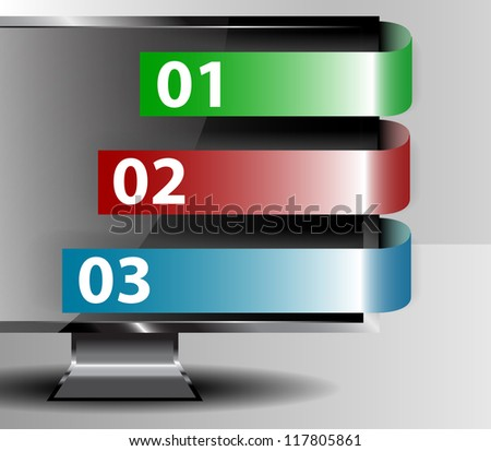 Business tags and monito vector - stock vector