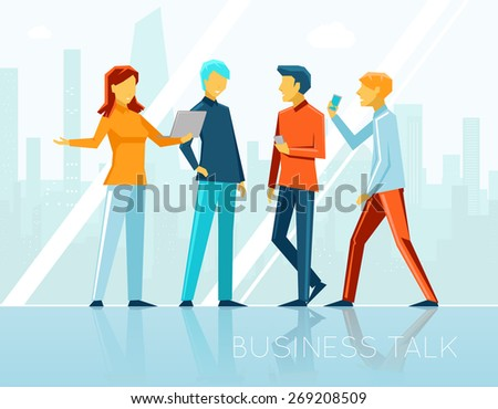 Business talk, creative brainstorming. People meeting, communication and office. Vector illustration - stock vector