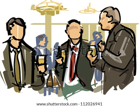 business talk with beer - stock vector