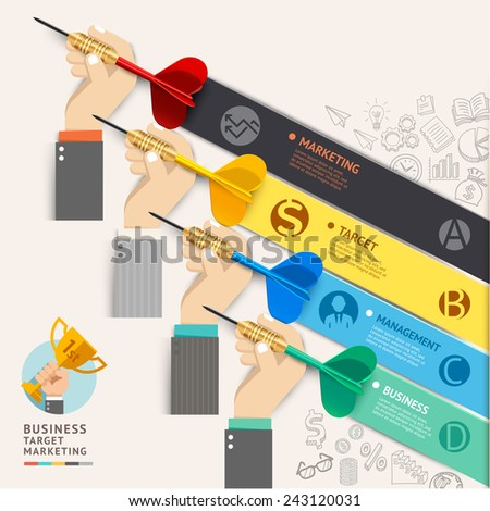 Business target marketing concept. Businessman hand with dart and doodles icons. Vector illustration. Can be used for workflow layout, banner, diagram, web design, infographic template, timeline. - stock vector