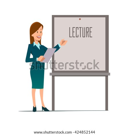 business teacher woman giving lecture presentation stock vector