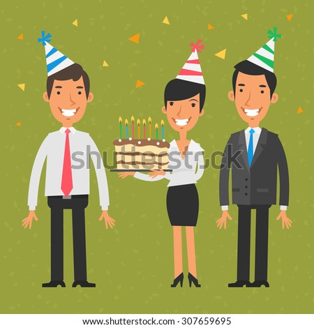Business team and birthday - stock vector