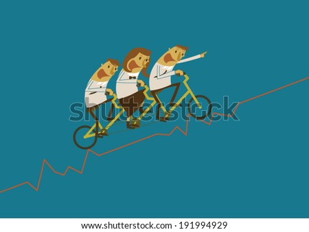 Business team are cycling on graph - stock vector