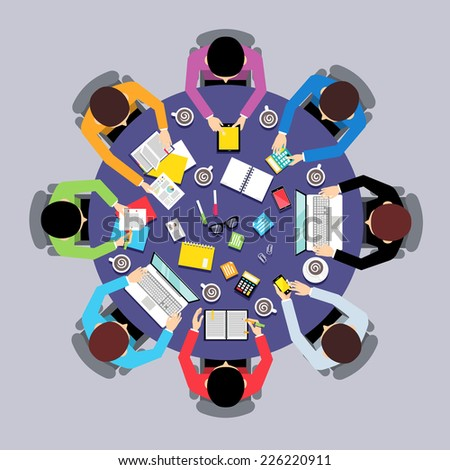 Business team brainstorming teamwork concept top view group people on round table vector illustration - stock vector