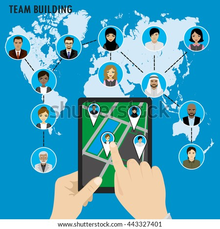 Business Team building. Different avatar people on world map. Smart technology.Horizontal composition., flat design. Vector illustration - stock vector