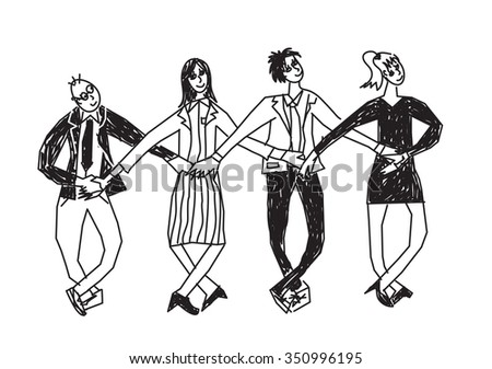 Business team dance presentation black and white. Group people dance in suits. Monochrome vector illustration. EPS8 - stock vector