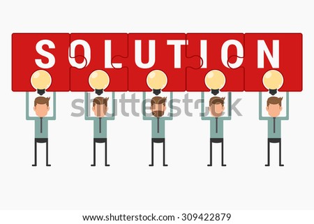 Business team hold and showing puzzle solution above light bulb idea. Cartoon Vector Illustration. - stock vector