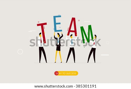 Business team holding a decision letter - stock vector