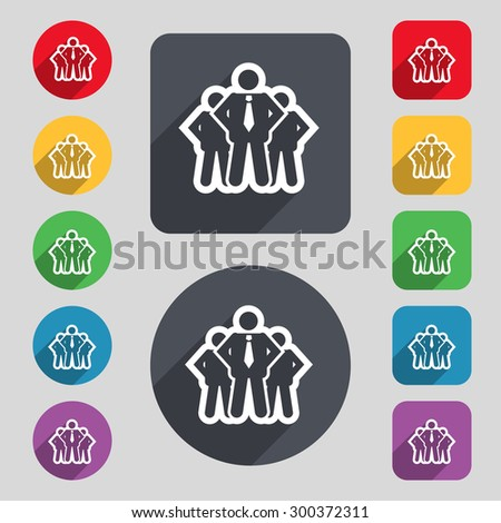 business team icon sign. A set of 12 colored buttons and a long shadow. Flat design. Vector illustration - stock vector