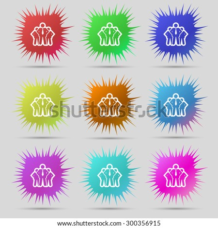 business team icon sign. A set of nine original needle buttons. Vector illustration - stock vector