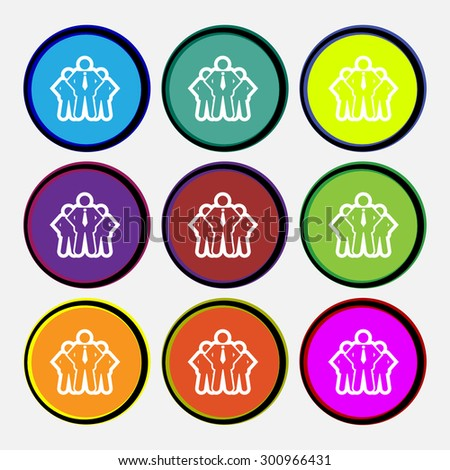 business team icon sign. Nine multi colored round buttons. Vector illustration - stock vector
