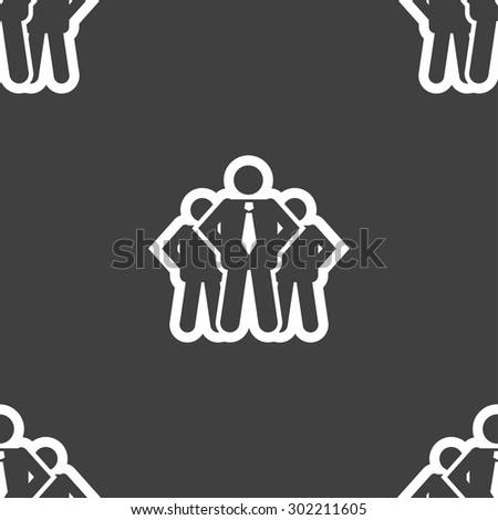 business team icon sign. Seamless pattern on a gray background. Vector illustration - stock vector