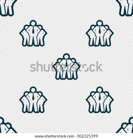 business team icon sign. Seamless pattern with geometric texture. Vector illustration - stock vector