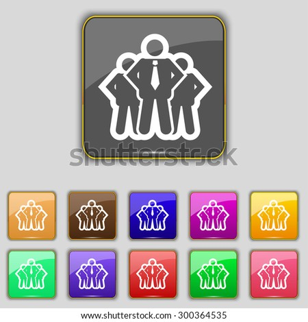 business team icon sign. Set with eleven colored buttons for your site. Vector illustration - stock vector