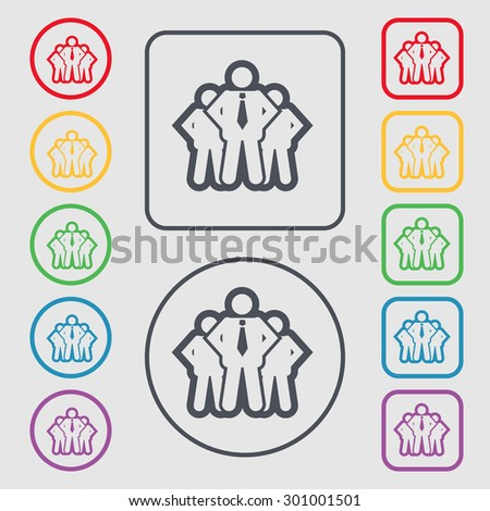 business team icon sign. symbol on the Round and square buttons with frame. Vector illustration - stock vector