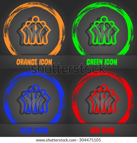 business team icon symbol. Fashionable modern style. In the orange, green, blue, green design. Vector illustration - stock vector