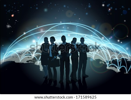Business team in silhouette with globe in the background with network or flight paths - stock vector