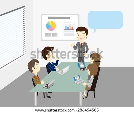 Business team meeting - stock vector
