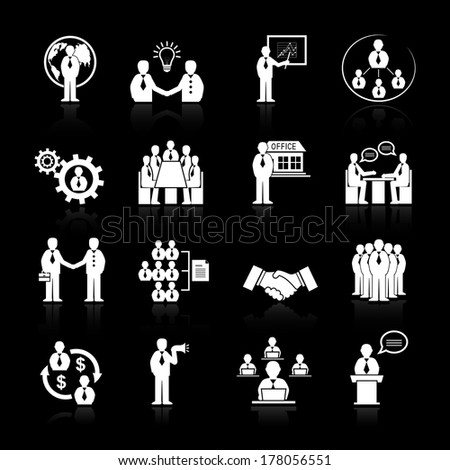 Business team meeting at office conference presentation icons set isolated vector illustration