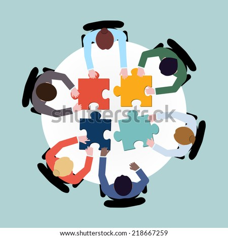 Business team meeting brainstorming concept top view group people on table with puzzle vector illustration - stock vector