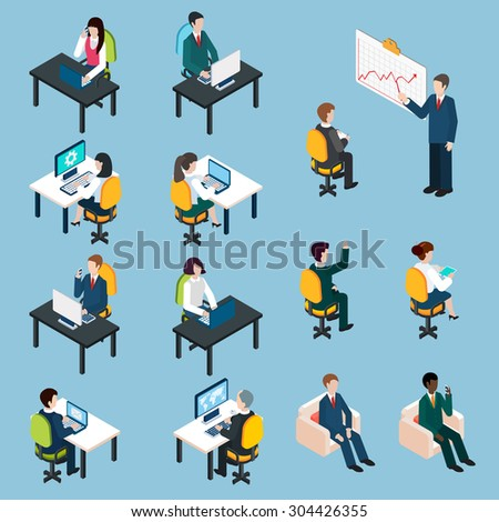 Business team members at work analyzing sharing presenting and collaborating  isometric pictograms set abstract isolated vector illustration - stock vector