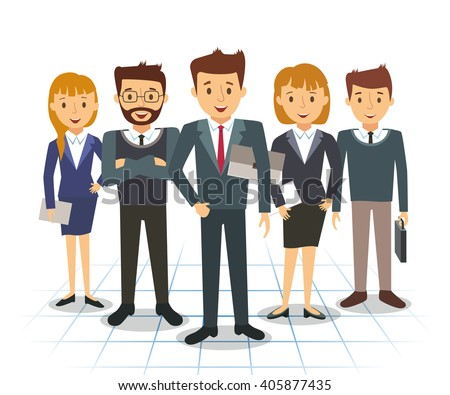 Business team of employees and the boss vector illustration - stock vector