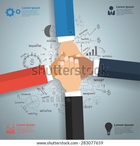 Business team showing unity with their hands together, With creative drawing charts and graphs business success strategy plan idea, Inspiration concept modern design template, Vector illustration - stock vector