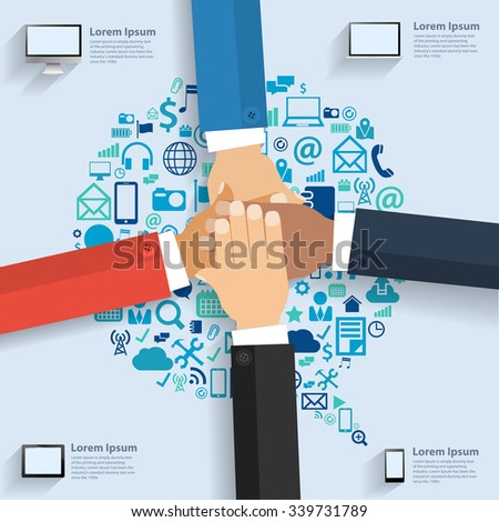 Business team showing unity with their hands together, With speech bubble cloud of application icons, Business software and social media networking idea concept, Vector illustration template design - stock vector