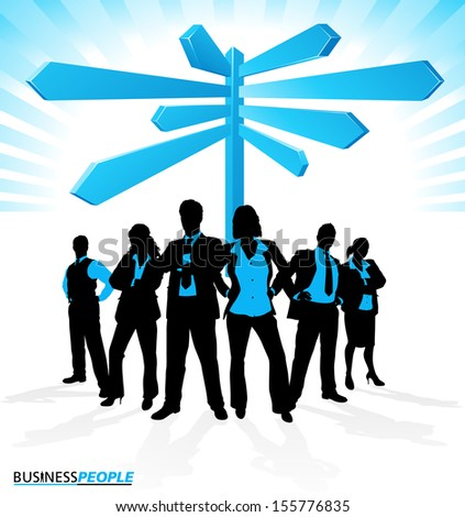 Business Team Signpost. Illustration of a group of Male and Female Business People in a Dynamic Pose depicted as silhouettes standing in front of a career signpost.  - stock vector