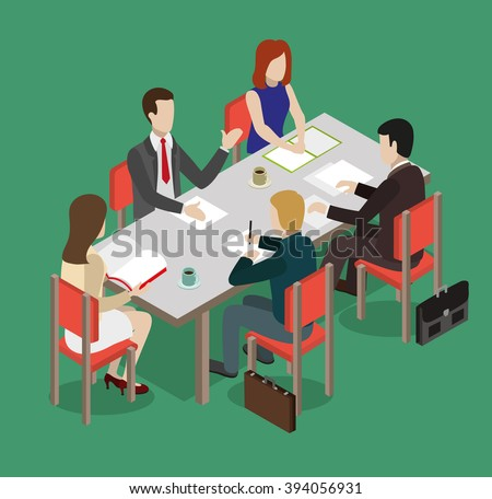Business team sitting at the table and discussing a new project. Business concept. Flat style illustration - stock vector