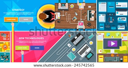 Business team strategy top view of desk with businessman hands. New technologies laptop, digital tablet, smartphone with usb cables ready for connection and work on wood table flat design - stock vector