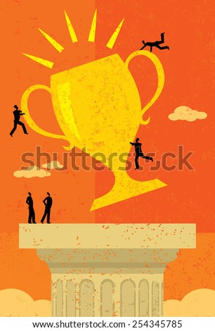 Business Team Success A business team achieving their goal and placing their trophy atop a pedestal. The people & trophy and background are on separate labeled layers. - stock vector