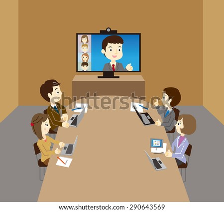 Business team, WEB conference - stock vector