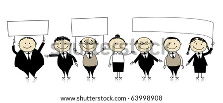 Business team with banners in hands - stock vector