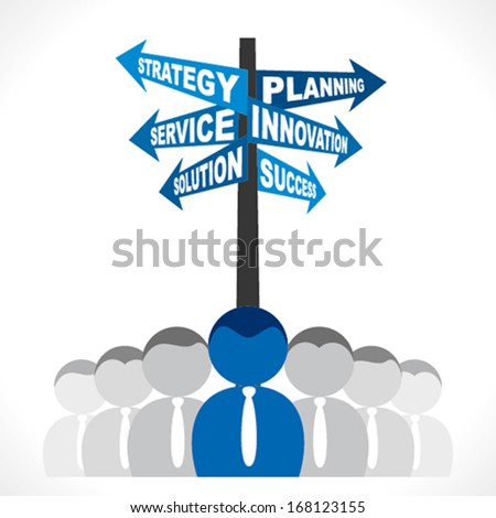 business team with different business related word or direction arrow write planning strategy related word background vector - stock vector