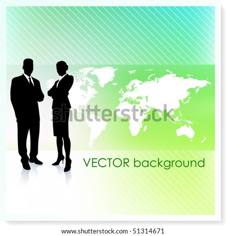 Business Team with World Map on Vector Background Original Illustration