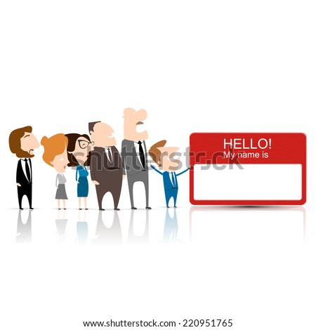business team work and a name card - stock vector