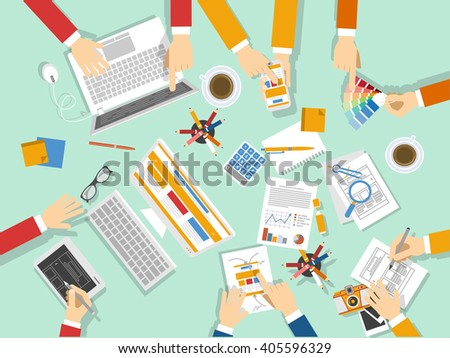Business team work, business coworkers - stock vector