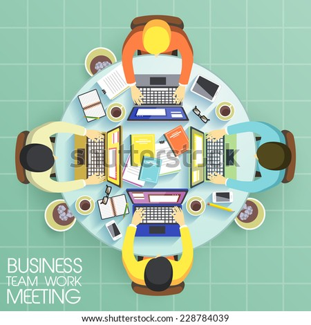 business team work meeting in flat design  - stock vector