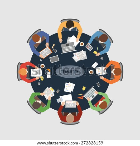 Business teamwork, business meeting and brainstorming. Vector flat design concept illustration - stock vector