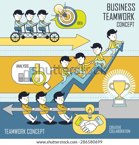 business teamwork concept set in line style - stock vector