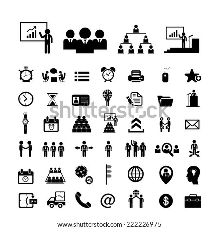 Business teamwork icon set on white background  - stock vector