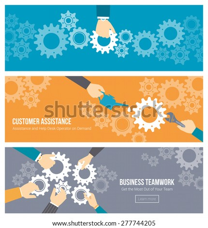 Business teamwork, leadership and support concept, office workers's hands joining gears together, repairing and lubricating them - stock vector