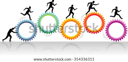 Business Teamwork Push-Conceptual Illustration of group of businessmen on top of cogs. - stock vector
