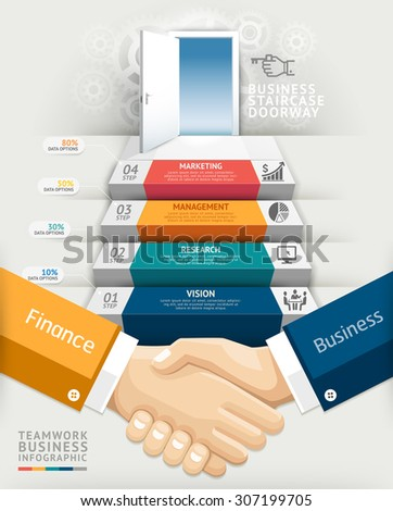 Business teamwork staircase doorway conceptual infographics. Vector illustration. Can be used for workflow layout, banner, number options, step up options, web design, diagram, timeline. - stock vector