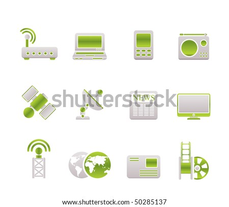 Business, technology  communications icons - vector icon set - stock vector